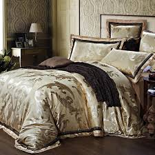quality jacquard satin luxury wedding bedding comforter set king queen size duvet cover bedspread bed in