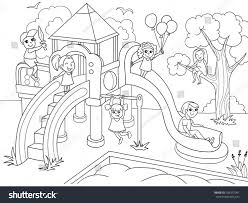 Childrens Playground Coloring Vector Illustration Black Stock Vector