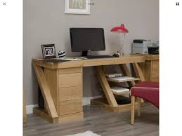 office study desk. Z Shape Solid Chunky Oak Designer Large PC Computer Laptop Home Modern Work Office Study Desk