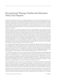 Occupational Therapy Fieldwork Education Value And Purpose