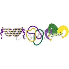 Mardi Gras Designs Mardi Gras Trio Embroidery Design