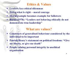 ethics and leadership ppt  ethics values what are values