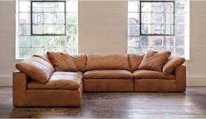 feather extra deep leather corner sofa in tan leather left hand facing