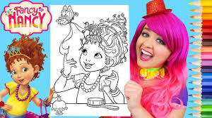How to color disney princesses   markers. Coloring Fancy Nancy Clancy Disney Coloring Page Prismacolor Pencils Kimmi The Clown Youtube