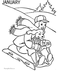 Small Picture Winter Sledding Coloring Page