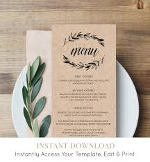 Rustic Wedding Menu Template Printable Menu Card