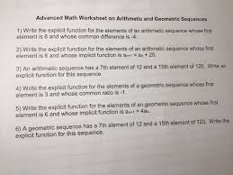 Arithmetic Sequence Worksheet Answers Solved Advanced Math Worksheet On Arithmetic And Geometri