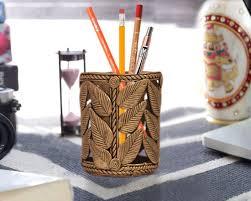 Carved Leaf Design Dhokra Art Pen Holder ...