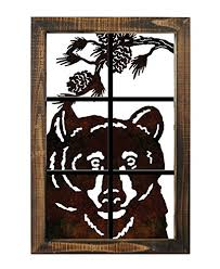 metal bear head wall art lazer cut out wood frame large 20 quot  on metal bear head wall art with amazon metal bear head wall art lazer cut out wood frame large
