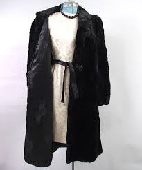 vintage 30s jet black seal dyed coney long fur coat s m