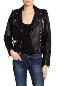 image of levi s studded faux leather jacket