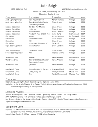 Qualifications Resume Technical Theatre Resume Templates High
