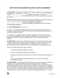 Nda Template Agreement Software Development Non Disclosure Agreement Nda Template