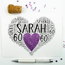 personalised 60th birthday sparkle card