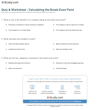 print how to calculate the break even point definition formula worksheet