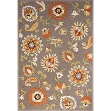 contemporary fl leaves pattern grayorange polyester orange area rug 5x7
