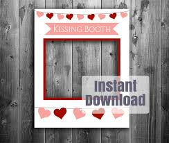 kissing booth printable diy frame photo booth frame valentines day party prop giant photo loadette