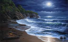 nature beaches landscapes waves ocean sea seascape cliff trees tropical sky clouds moon moonlight art artistic