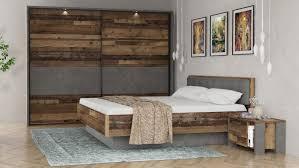 Schlafzimmer Clif Binou Old Wood Vintage Beton Dunkelgrau