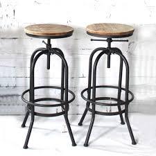 Ikayaa Bar Chairs Industrial Style Height Adjustable Swivel
