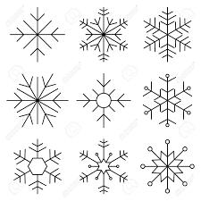 Set Of Nine Snowflakes Thin Line Flat Design Vector Illustration