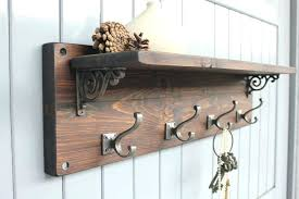 rustic wood coat rack wall mount with 3 hooks entryway throughout inside mounted decorations 19