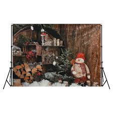 7x5ft snowman wooden wall outdoor photography backdrop studio prop background