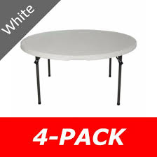 new 2970 4 pack lifetime 60 white round folding tables