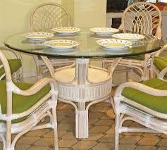 pole rattan 54 round dining table with glass top whitewash