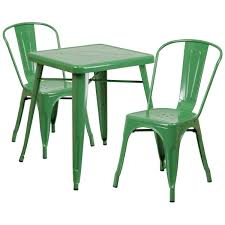 outdoor stack chairs. 23.75\u0027\u0027 Square Green Metal Indoor-Outdoor Table Set With 2 Stack Chairs CH Outdoor