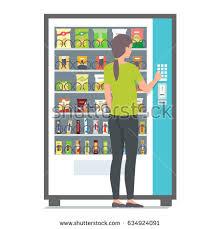 Vending Machine Girl Interesting Girl Using Vending Machine Snacks Vector Stock Vector Royalty Free