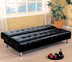 armless black leather tufted convertible sofa bed
