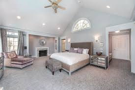 Art Deco Master Bedroom with Jardin Toile Drapery Panel - Spa, Cathedral  ceiling, Deanna