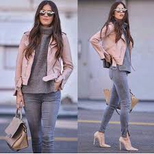 light pink short belted biker leather jacket