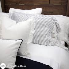 farmhouse navy white ticking stripe ties apartment bedding