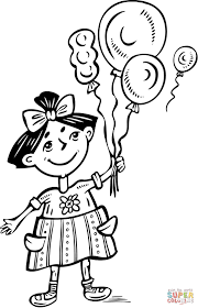 Small Picture Little Girl Holding Balloons coloring page Free Printable