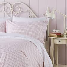ditton hill kitty gingham check soft pink duvet cover set dove mill and gingham duvet cover