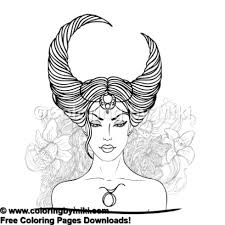 Zodiac Lady Taurus Coloring Page 872 Coloring By Miki
