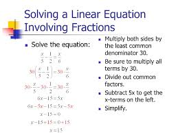 solving a linear equation involving fractions