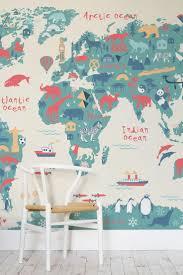 Explorer Kids World Map Mural - Fun map wallpaper for children
