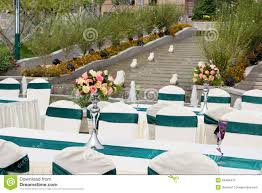 Table Settings For Wedding Or Event Party Outdoor At Park Royalty