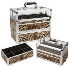 tiger leopard print cosmetic case w 60 nail polish storage only 79 95 plus free