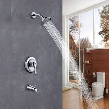 bathroom shower faucets. Wall Mounted Brass Bathroom Shower Faucet Set Antiscald Valve With Diverter Tub Spout Arm Faucets A