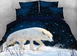 57 onlwe 3d white wolf walking in snow printed 4 piece bedding sets duvet covers