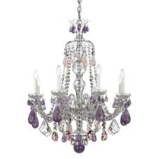 schonbek hamilton silver eight light amethyst and rose rock crystal chandelier 28w x 35h x 28d