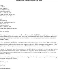 Sample Research Cover Letter Cover Letter For Research Analyst World Bank Sample Market Analyst
