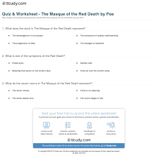 quiz worksheet the masque of the red death by poe com print the masque of the red death by edgar allan poe summary symbolism analysis worksheet
