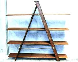 decorative wooden ladder shelf supports shelves with awesome rustic small s