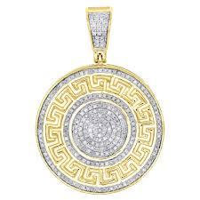 jewelry for less 10k yellow gold diamond greek key medallion pendant pave charm 0 58 ct image