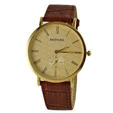 aliexpress com buy brand baishuns luxury gold ultra thin watches aliexpress com buy brand baishuns luxury gold ultra thin watches for men leather strap quartz wristwatch luxury gentleman watch relogio masculino from